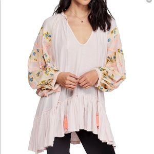 Free people pink embroidered tunic